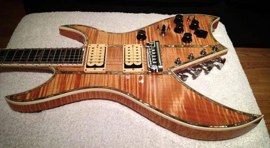 """BC.Rich Private Reserve one-of one"""" Bich 10 Supreme"""". This USA handmade example has solid flame Maple wings and Maple core, the stringers and edge binding are"""