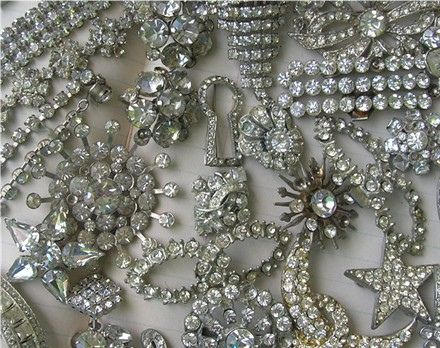 Vintage Rhinestone Costume Jewelry by speckled-egg, via Flickr