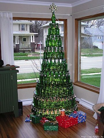 Christmas Tree made of empty beer bottles, very creative!
