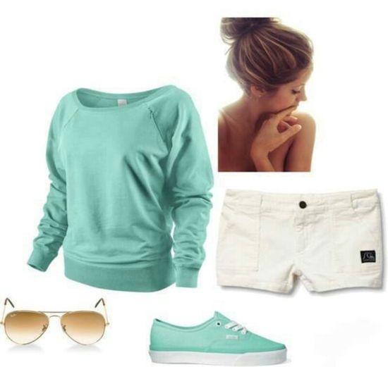 Cute summer outfit!! Aqua & white. Beach outfit