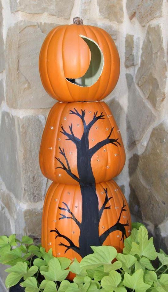 DIY Halloween: DIY Stacked Pumpkin Topiaries: DIY Halloween Decor