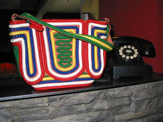 Vintage 1940s Telephone Cord Purse Multicolor by GraveyardsVintage