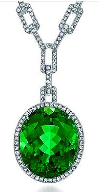 Tiffany & Co Green Tourmaline and Diamond Pendant