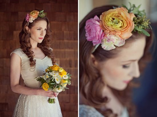 Vintage Wedding inspiration. The bride with flowers in her hair