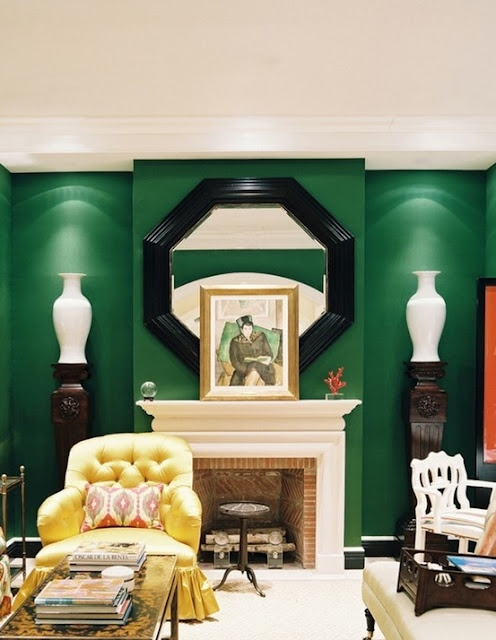 Emerald green walls, yellow tufted chair - Miles Redd