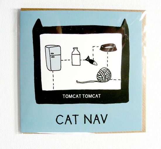CAT NAV. Funny illustrated everyday cat card. £1.50