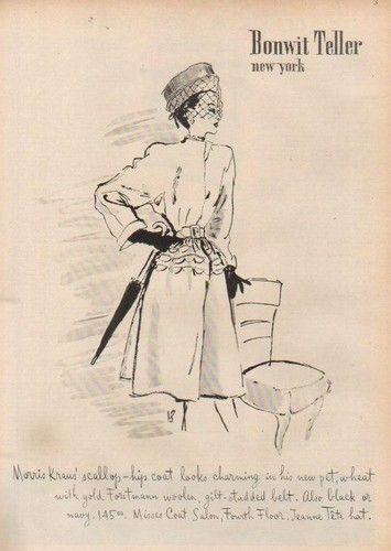1946 Bonwit Teller Department Store ad. #vintage #1940s #fashion #ads