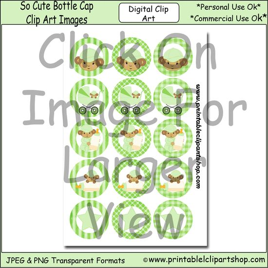 Baby monkey bottle cap images consist of 15 images with baby monkeys wearing a green baseball cap on a green striped, polka dot, or plaid ba...