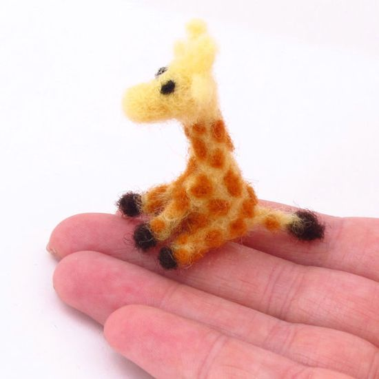Micro giraffe  Needle felted Giraffe  micro animals  by drudruchu, $15.00