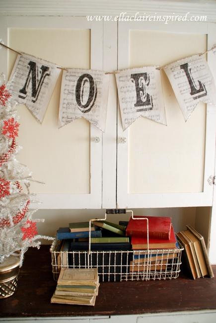 Vintage Sheet Music Noel Banner- Ella Claire Shoppe