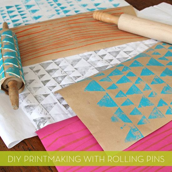 DIY printed wrapping paper with rolling pins