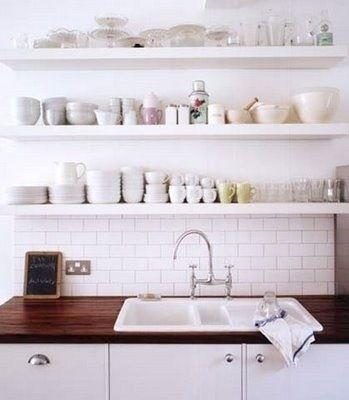 open kitchen shelf and subway tiles.