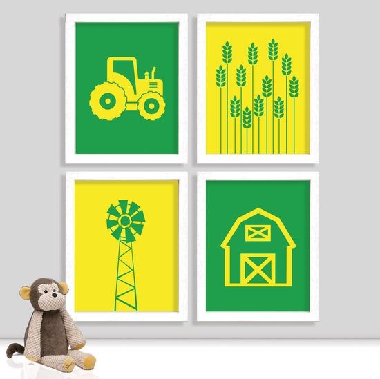 Farm Nursery Prints - John Deere Nursery Print - Tractor Print - Barn Print - Boy Room - Set of Four Prints. $34.00, via Etsy.