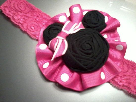 Minnie Mouse Hair Accessory Headband on Ruffle by RheasBlooms