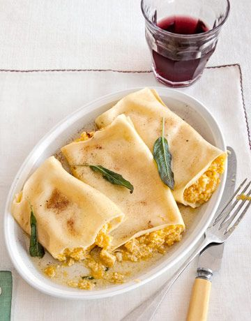 Food: Eleven Delicious Cannelloni recipes  (Calling all pumpkin lovers: Pumpkin Cannelloni with Sage Brown-Butter Sauce, via Country Living)