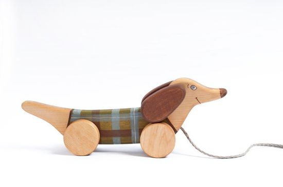 Wooden Toy Greed Dog kids pull toy by FriendlyToys