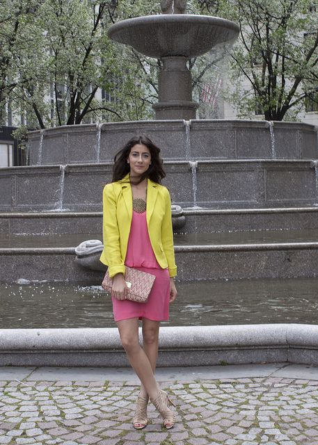 yellow blazer pink dress