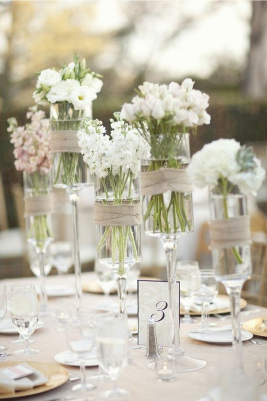 Simple and elegant - great centerpiece idea