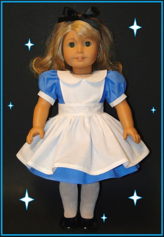 PDF Sewing Pattern - Alice in Wonderland Costume - Fits American Girl Doll or other 18 inch doll. $6.00, via Etsy.
