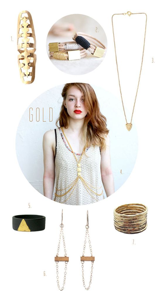 A round up of pieces from Etsy sellers that go for the gold.