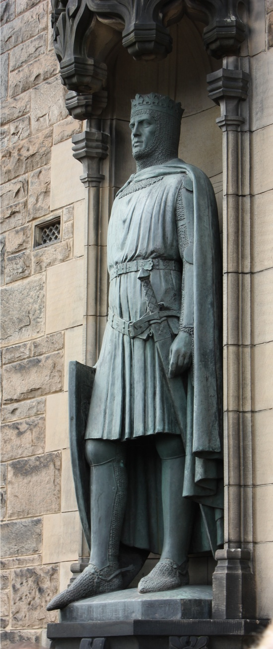 Edinburgh Castle entrance; Robert the Bruce statue at Edinburgh, Scotland