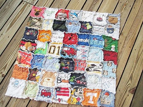 Quilt made out of onesies from baby's first year!!