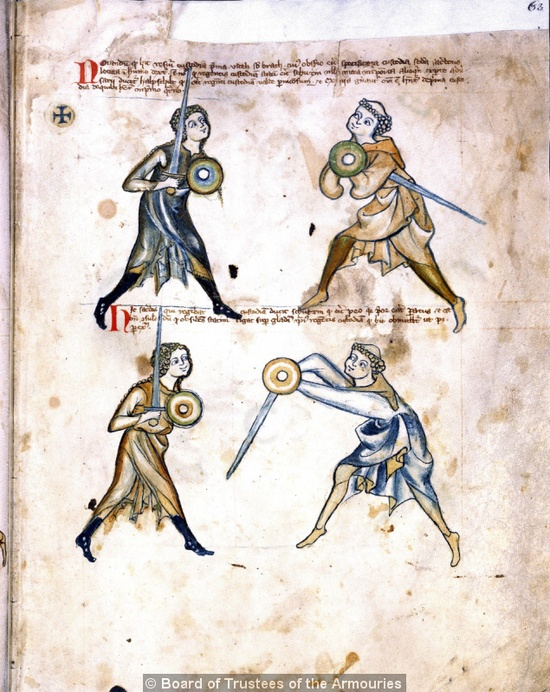 This is a 14th century German treatise on swordsmanship, and yes, that is a woman on the left in both pictures, and a monk on the right. There is a lot of debate as to the proper interpretation of this treatise, but I think the main takeaway is that maybe the lives of medieval women (and monks) were not as dull as we sometimes assume.