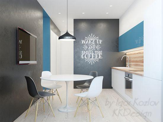 modern kitchen interior white & black