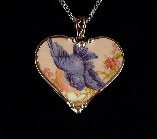 Vintage bluebird china Broken china jewelry necklace by Dishfunctional Designs.