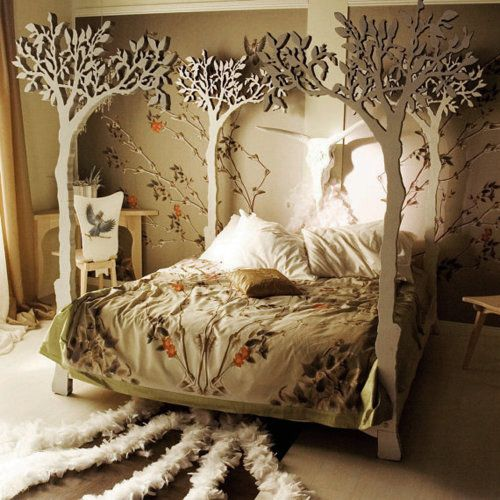 wickedclothes:    Apple Tree Canopy Bed.   Handmade to measurements. Hand-sanded and finished with white translucent wax. Dovetail joints and brass hardware attachments. Sold on Etsy.  You might also enjoy this Forest Canopy Bed.