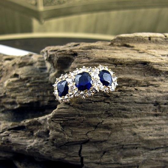 19th Century 3 Stone Sapphire Ring