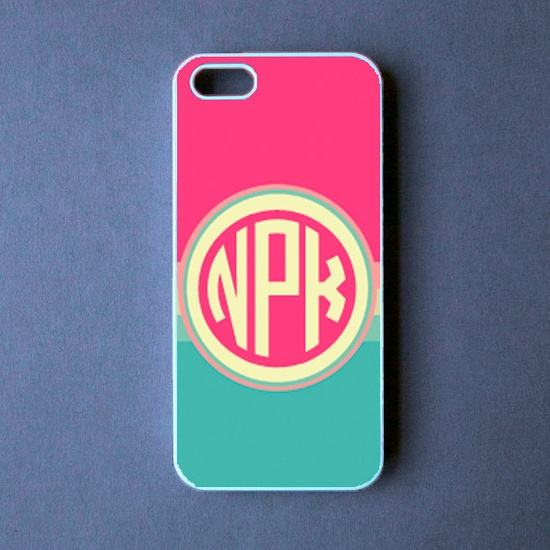 Monogram Iphone 5 Case - Pink Blue Monogram Iphone 5 Cover -  PRE ORDER (Ships Oct 1). $19.99, via Etsy.
