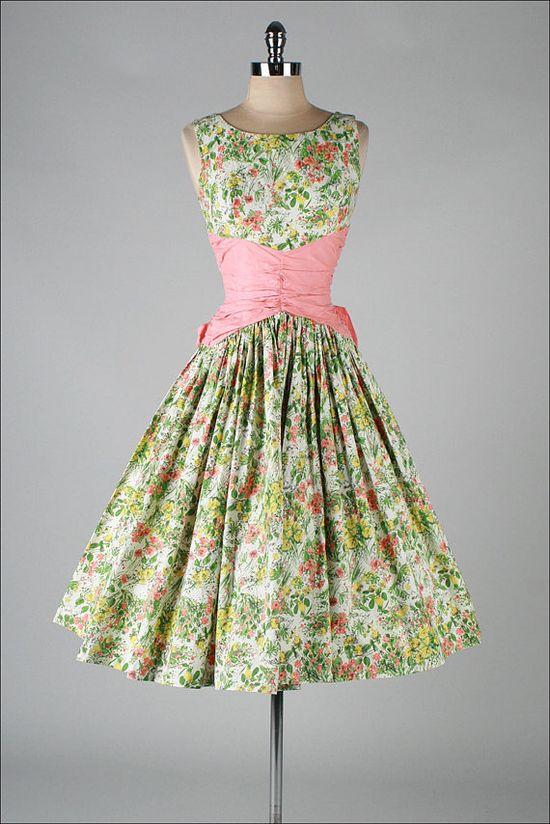 . cotton floral 50s dress--love, love