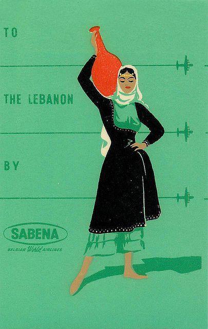 LEBANON , SABENA  c.1950 - vintage travel poster