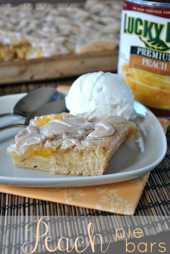 Peach Pie Bars- easy no crust bars for your next #dessert #luckyleafluckyme www.shugarysweets...