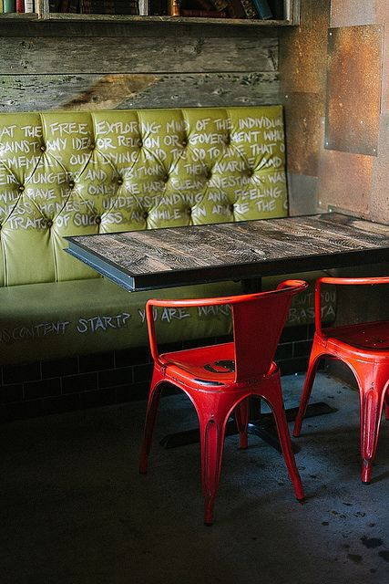 ? Industrial rustic interior design with bold color contrast