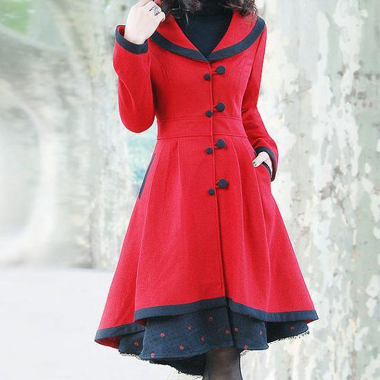 Elegant red woolen long coat