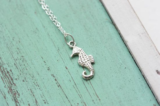 Tiny Silver Seahorse Necklace by diamentdesigns on Etsy, $38.00