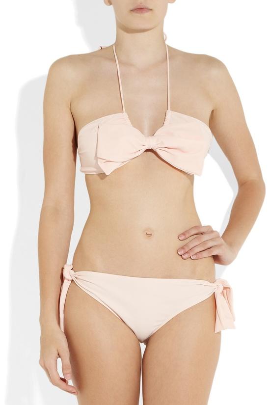 MIU MIU Bow-embellished bandeau bikini