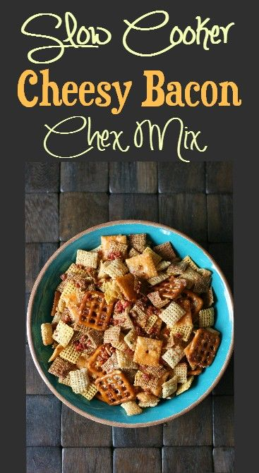 Slow Cooker Cheesy Bacon Chex Mix!
