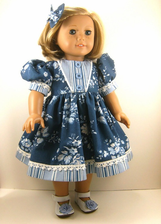 American Girl Doll Clothes Denim Blues and Roses by dressurdolly2, $22.00