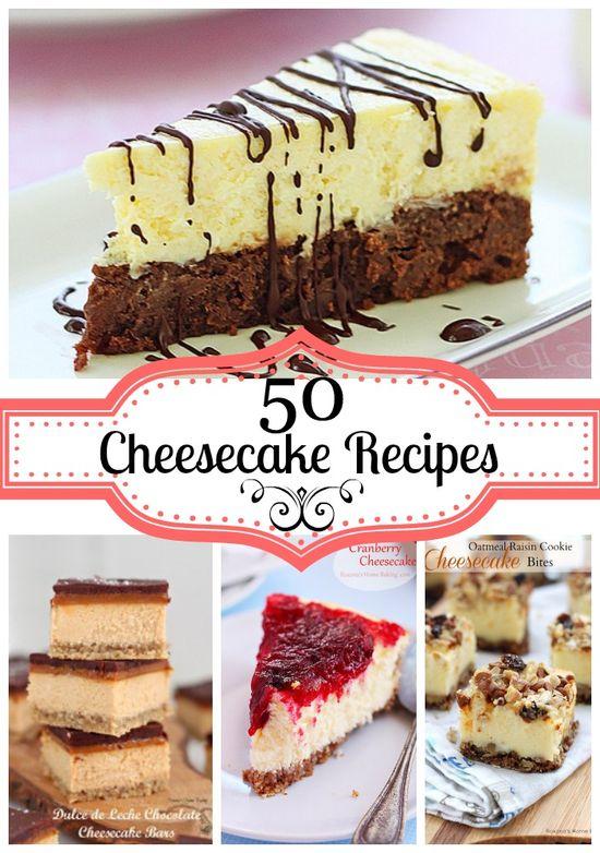 50 cheesecake recipes featured at Roxanashomebaking...