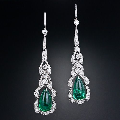 Antique Emerald and Diamond Drop Earrings