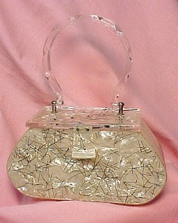 Lucite confetti box purse, 1950s. From Vintage Fashion Guild (December 2007).