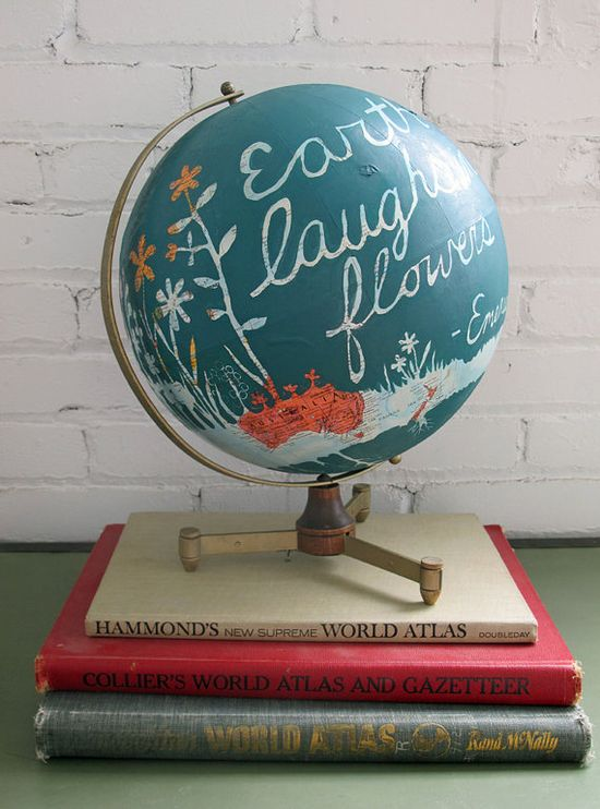 Earth Laughs In Flowers/ Hand Painted Vintage Globe by amyriceart, $450.00