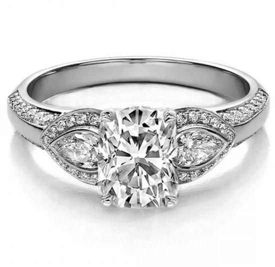 Cushion Diamond Engagement Ring Pear side stones
