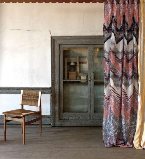 Rustic chevron curtains.