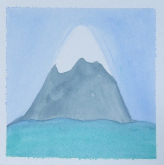 The Mountain and the Sea - Original Watercolor Painting