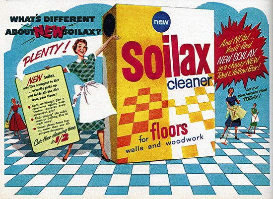 Just look at all the new things to love about Soilax Cleaner! :) #vintage #1950s #ad #cleaning #homemaker #housewife