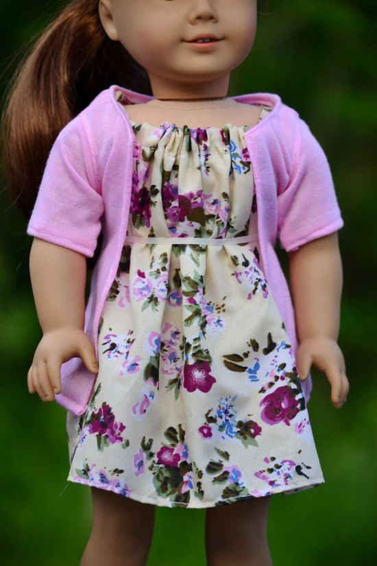 Dress and Cardigan for American Girl Dolls by DollDeLites on Etsy, $18.00